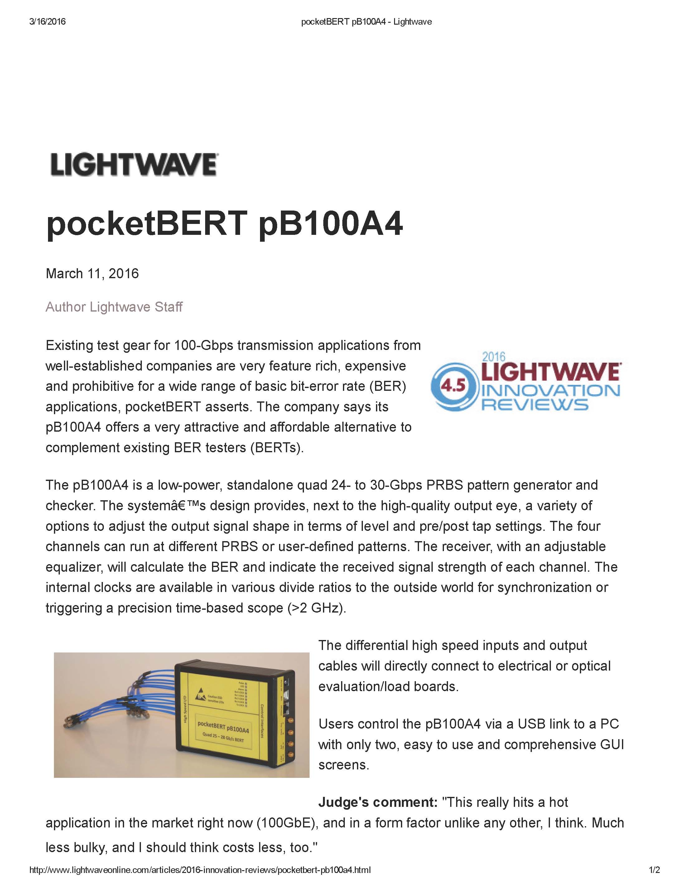 picture of article in Lightwave Online Magazine announcing the newly released pocketBert pB100A4